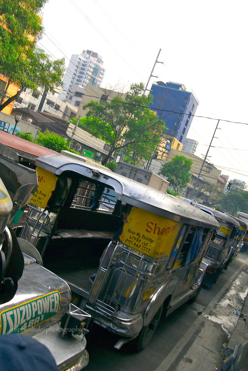 Empty Jeepneys line a street in Manila suburb of Binondo.