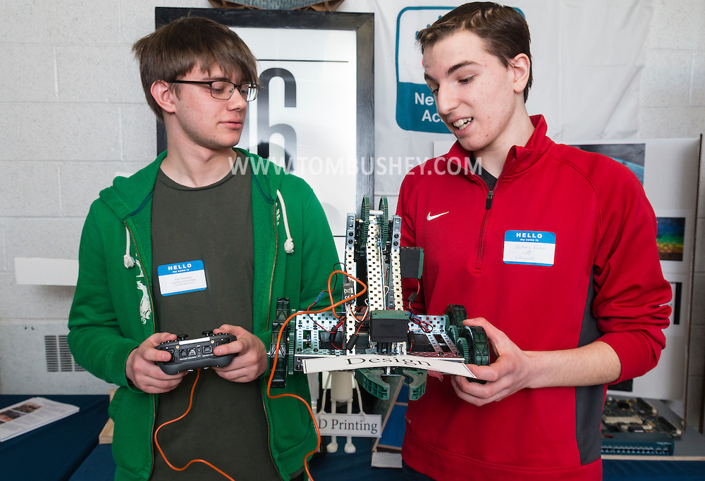 Goshen, New York - CAD students Rhys Thompson of Cornwall High School, left, and Anthony Russo of Warwick High School talk about a robotics project during the Orange-Ulster BOCES CTE (Career and Technical Education) media day on Feb. 18. 2016.