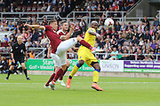 Northampton Town striker Alex Revell (10) and AFC Wimbledon striker Tom Elliott (9) in action during the EFL Sky Bet League 1 match between Northampton Town and AFC Wimbledon at Sixfields Stadium, Northampton, England on 20 August 2016. Photo by Stuart Butcher.