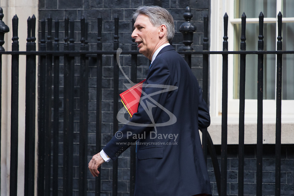 Foreign Secretary Philip Hammond leaves Prime Minister David Cameron's final cabinet meeting following Theresa May's anticipated takeover as Leader of the Conservative Party and Prime Minister on Wednesday 13th July 2016.