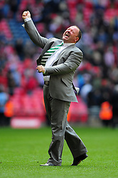 Yeovil Town Manger, Gary Johnson celebrate Yeovil Town's promotion into the Npower Championship after winning the League 1 Play-Off Final - Photo mandatory by-line: Dougie Allward/JMP - Tel: Mobile: 07966 386802 19/05/2013 - SPORT - FOOTBALL - LEAGUE 1 - PLAY OFF - FINAL - Wembley Stadium - London - Brentford V Yeovil Town