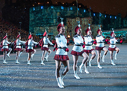 Edinburgh, Scotland, UK. 1 August, 2019. Preview opening night of the 2019 Royal Edinburgh Military Tattoo, performed on the esplanade at Edinburgh Castle. This is the Tattoo's 69th year and it runs from 2-24 August. Pictured The Lochiel Marching Drill Team in an Antartica themed set with fake snow.