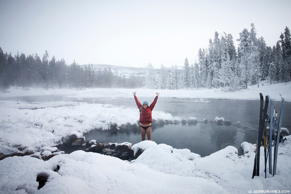 A winter steam bath near Yellowstone National Park in Wyoming.