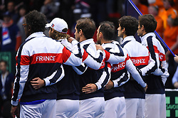French team during double at the Davis Cup first round tie against Netherlands, in Albertville, halle Olympique, France on february, 3, 2018. Photo by Corinne Dubreuil/ABACAPRESS.COM