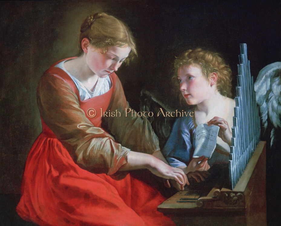 Saint Cecilia and an Angel' c1610. Cecilia, patron saint of music, sits palying an organ while the angel holds her music. Orazio Gentileschi (1563-1639) Italian Baroque painter.