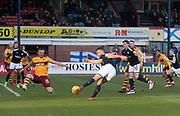 24th February 2018, Dens Park, Dundee, Scotland; Scottish Premier League football, Dundee versus Motherwell; Steven Caulker of Dundee shoots wide of the goal