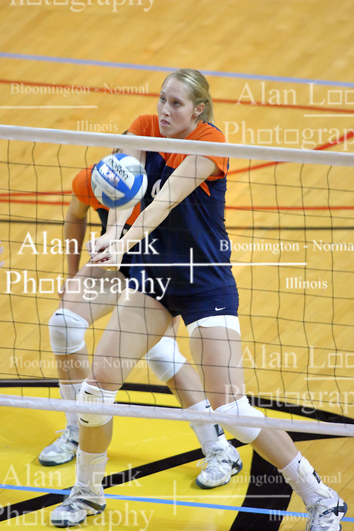 16 SEP 2008: Abby Nelson makes a dig from the front during a match at Redbird Arena on the campus of Illinois State University in Normal Illinois.  The Illinois State Redbirds went toe to toe with the University of Illinois Illini but in the end were outpaced by the 23rd ranked Division 1 Illini team 3 sets to 1.