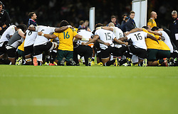 Players from Australia and Fiji pray together after the game  - Mandatory byline: Joe Meredith/JMP - 07966386802 - 23/09/2015 - Rugby Union, World Cup - Millenium Stadium -Cardiff,Wales - Australia v Fiji - Rugby World Cup 2015 - Pool A