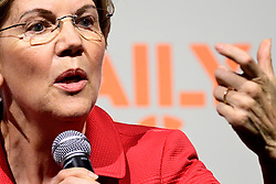 Sen. Elizabeth Warren at Netroots Nation convention in Philadelphia, PA on July 13, 2019. Democratic Presidential hopefuls Sen. Elizabeth Warren, Sen. Kirsten Gillibrand, Sec. Julian Castro and Gov. Jay Inslee react to questions during the Daily Kos/Netroots Nation candidate forum at the Pennsylvania Convention Center.