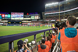 NEW YORK, NEW YORK, USA - Wednesday, July 24, 2019: Photographers during a friendly match between Liverpool FC and Sporting Clube de Portugal at the Yankee Stadium on day nine of the club's pre-season tour of America. (Pic by David Rawcliffe/Propaganda)