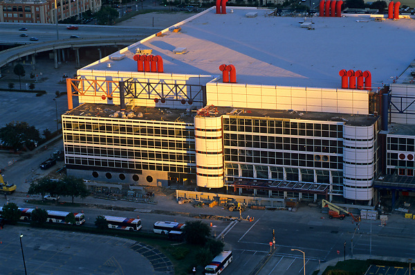 Stock photo of an aerial view of the George R. Brown Convention Center