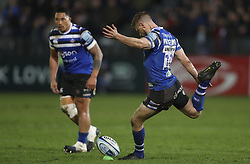 Bath's Rhys Priestland kicks a penalty during the Gallagher Premiership match at the Recreation Ground, Bath.