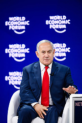 "HANDOUT - Benjamin Netanyahu, Prime Minister of Israel during the Session ""A Conversation with Benjamin Netanyahu, Prime Minister of Israel"" at the Annual Meeting 2018 of the World Economic Forum in Davos, January 25, 2018. Photo by Manuel Lopez/World Economic Forum via ABACAPRESS.COM"