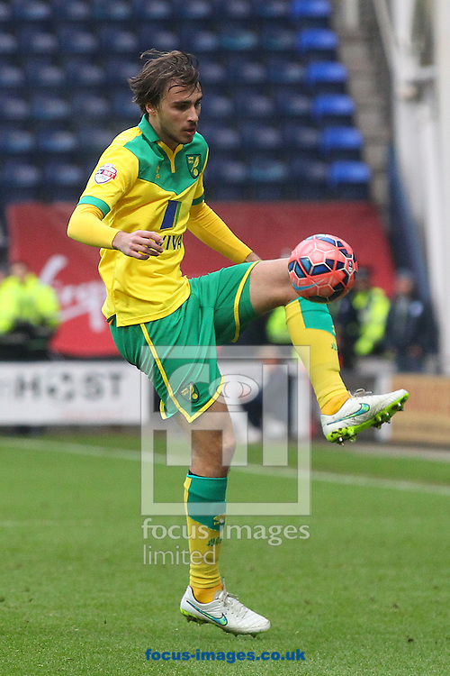 Ignasi Miquel of Norwich in action during the FA Cup match at Deepdale, Preston<br /> Picture by Paul Chesterton/Focus Images Ltd +44 7904 640267<br /> 03/01/2015