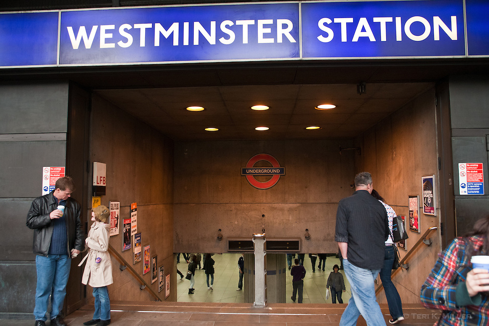 Entrance to Westminster Station, London, England.