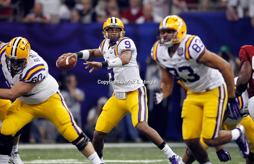 Jan 9, 2012; New Orleans, LA, USA; LSU Tigers quarterback Jordan Jefferson (9) throws a pass during the first half of the 2012 BCS National Championship game against the Alabama Crimson Tide at the Mercedes-Benz Superdome.  Mandatory Credit: Derick E. Hingle-US PRESSWIRE