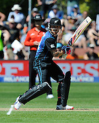 Captain Brendan Mccullum hits a four during the ICC Cricket World Cup match between New Zealand and Scotland at university oval in Dunedin, New Zealand. Photo: Richard Hood/photosport.co.nz