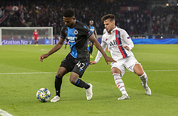 Emmanuel BONEVENTURE from BRU5GES and BERNAT VELASCO Juan from PSG<br /> In action during the UEFA Champions League Group A football match Paris Saint-Germain (PSG) v Club Brugge at the Parc des Princes stadium in Paris, France, on November 6, 2019. Photo by Loic BaratouxABACAPRESS.COM