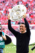 FcBayern coach Niko KOVAC with the trophy, <br /> Bayern Munich's Croatian headcoach Niko Kovac celebrates with the trophy after his team's championship victory after the German First division Bundesliga football match, <br /> MUNICH, 18. MAY 2019,  Fc BAYERN vs Eintracht FRANKFURT, 5:1 - Bundesliga Football Match, <br /> FcBayern Muenchen vs Eintracht FRANKFURT Bundesliga match at Allianz Arena on 18.05.2019, DFL REGULATIONS PROHIBIT ANY USE OF PHOTOGRAPHS AS IMAGE SEQUENCES AND/OR QUASI-VIDEO - fee liable image, <br /> copyright &copy; ATP / Arthur THILL