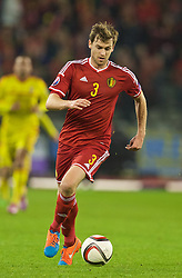 BRUSSELS, BELGIUM - Sunday, November 16, 2014: Belgium's Nicolas Lombaerts in action against Wales during the UEFA Euro 2016 Qualifying Group B game at the King Baudouin [Heysel] Stadium. (Pic by David Rawcliffe/Propaganda)