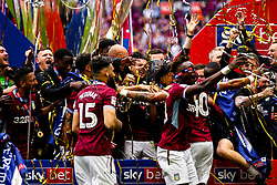 Aston Villa celebrate winning promotion to the Premier League after beating Derby County in the Sky Bet Championship Playoff Final - Mandatory by-line: Robbie Stephenson/JMP - 27/05/2019 - FOOTBALL - Wembley Stadium - London, England - Aston Villa v Derby County - Sky Bet Championship Play-off Final