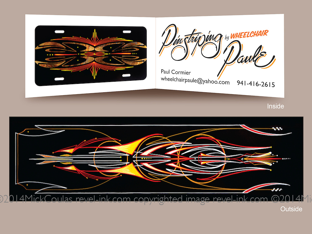 Two sided Folded Business Card Design for Wheelchair Paulie, Disabled Veteran Pinstriping Artist