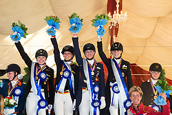 Prize giving Juniors Team Test 1. Germany 2. The Netherlands 3. Danmark<br /> European Championships Dressage Junior and Young Riders 2014<br /> © Hippo Foto - Leanjo de Koster