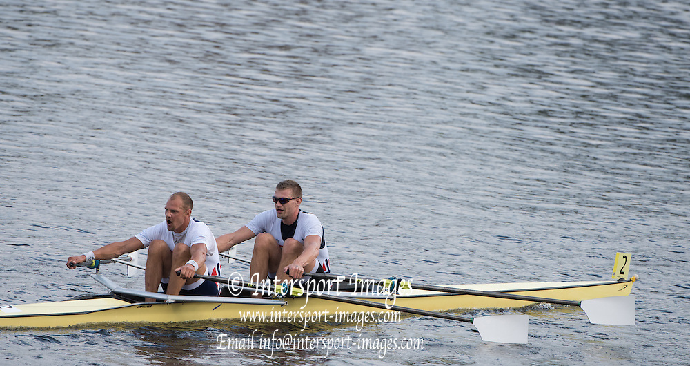 Cambridge. Mass, USA. Championships Men's Double, Bow Ondrej Synek and Olaf Tufte<br /> 2014 Head of the Charles Regatta. Charles River. Boston. 15:48:10  Saturday  18/10/2014  [Mandatory Credit; Peter Spurrier/Intersport-images] 2014. HOCR, 50 Years, anniversary .   Empacher.