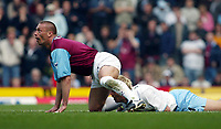Photo: Scott Heavey<br />West Ham United V Aston Villa<br />12/03/03.<br />Tomas Repka gives away the penalty to Marcus Allback during this FA Barclaycard Premiership match at Upton Park.