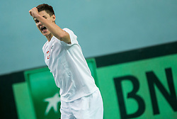 Kamil Majchrzak of Poland celebrates after winning during the Day 1 of Davis Cup 2018 Europe/Africa zone Group II between Slovenia and Poland, on February 3, 2018 in Arena Lukna, Maribor, Slovenia. Photo by Vid Ponikvar / Sportida