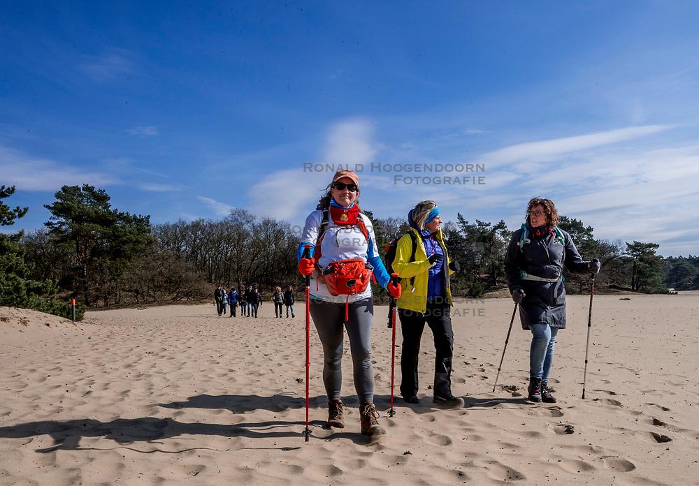 18-03-2018 NED: We hike to change diabetes, Soest<br /> Training voor de Camino 2018 op de Soesterduinen / track hiking lopen zand Juliet, Petra