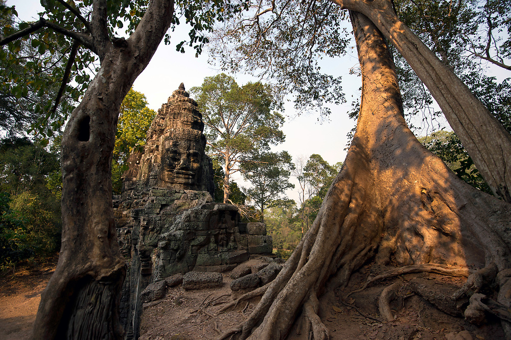 "Carved stone heads of the ""Buddha King"" Jayavarman VII adorn the main entrances to Angor Thom, encroached upon by hundreds of years of jungle growth."