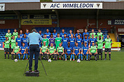 Taking the team photo during the official team photocall for AFC Wimbledon at the Cherry Red Records Stadium, Kingston, England on 8 August 2019.