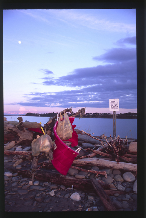 Garbage on Dungeness Spit, Dungeness National Wildlife Refuge, Olympic Peninsula, Washington, US
