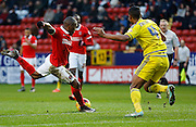 Charlton Athletic midfielder Callum Harriott sets himself to let fly during the Sky Bet Championship match between Charlton Athletic and Nottingham Forest at The Valley, London, England on 2 January 2016. Photo by Andy Walter.