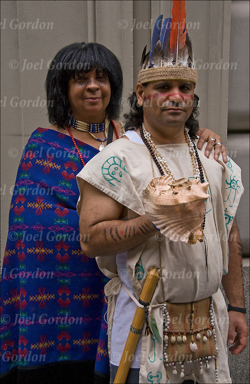 Portrait of  Firebird Grey Wolf  (Cherokee and African American) and Luis Ramous ( Taino Native American and Pureto Rican ) dressed in traditional folk regalia for the Puerto Rican Day Parade in New York City...Release # 2619 and 2620
