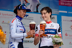 First and third, Coryn Rivera and Nicole Hanselmann toast the stage at Thüringen Rundfarht 2016 - Stage 7 a 131 km road race starting and finishing in Gera, Germany on 21st July 2016.