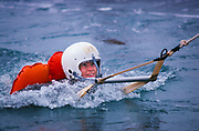 """The first female NASA astronauts qualify in Water Survival School at Turkey Point, Florida. NASA Astronaut candidate Anna L. Fisher participates in a water rescue exercise during the US Air Force Water Survival School. Fisher's classmates include Sally K. Ride, Shannon W. Lucid, Kathryn D. Sullivan, Margaret """"Rhea"""" Seddon and Judith A. Resnik."""