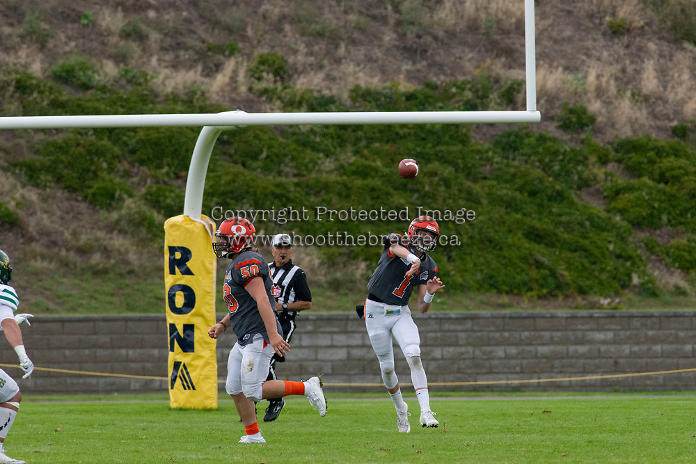 KELOWNA, BC - SEPTEMBER 22: Quarterback Alex Douglas #1 of Okanagan Sun throws the ball against the Valley Huskers at the Apple Bowl on September 22, 2019 in Kelowna, Canada. (Photo by Marissa Baecker/Shoot the Breeze)