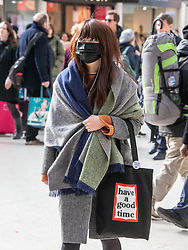 © Licensed to London News Pictures. 03/03/2020. London, UK. A young women heads to work wearing a mask at Victoria Stn in Westminster as Boris Johnson announces his battle plan in Downing Street for combating the coronavirus crisis. Photo credit: Alex Lentati/LNP