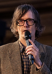 © Licensed to London News Pictures. 11/01/2019. London, UK. Musician Jarvis Cocker speaks at a convention for second EU referendum, organised by 'Another Vote is Possible', a pro-EU organisation. MPs are currently debating British Prime Minister Theresa May's EU withdrawal deal, with a vote on the deal due to take place on 15th January. Photo credit : Tom Nicholson/LNP