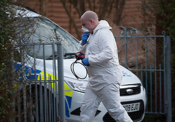 © Licensed to London News Pictures.  01/03/2015. Bristol, UK.  27/02/2015.  Bristol, UK.  Police forensics officers search a house in Southmead as part of the search for missing teenager Rebecca Watts aged 16 who left home 5 miles away in Crown Hill in the St George area of Bristol last Thursday and has not been seen since. Police have carried out extensive searches in the St George area but have been at the house in Southmead since yesterday late afternoon. Rebecca did not take any spare clothes with her and both her family and the police are very worried for her welfare. Photo credit : Simon Chapman/LNP