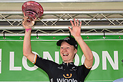 Jolien D'Hoore (BEL) riding for Wiggle HIGH5 celebrates winning the stage during the OVO Energy Women's Tour, London Stage, at Regent Street, London, United Kingdom on 11 June 2017. Photo by Martin Cole.