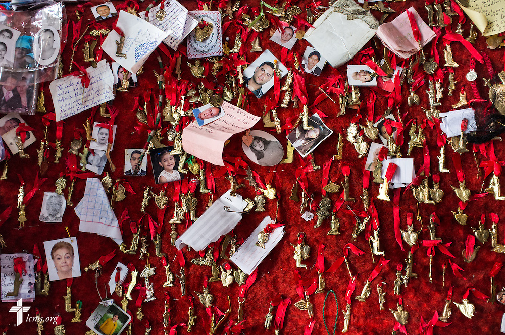 Pinned prayer requests at a Catholic cathedral in Mexico City on Sunday, Jan. 15, 2017. Erik M. Lunsford