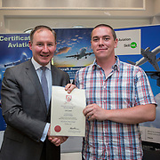 24.05.2018.       <br /> The Limerick Institute of Technology with Atlantic Air Adventures and funding from the Aviation Skillnet presented over forty certificates to Aviation professionals who have completed the Certificate in Aviation, The Aircraft Records Technician Level 7 and Part 21 Design, Level 7.<br /> <br /> Pictured at the event was Jim Gavin, The Irish Aviation Authority and Manager of the Dublin Football Team who presented, Carl Lynam with their cert.<br /> <br /> LIT in partnership with Atlantic Air Adventures, CAE Parc Aviation, Part 21 Design and industry experts such as Anton Tams, GECAS, Don Salmon, CAE Parc Aviation and Mick Malone, Part 21 Design have developed and deliver these key training programmes with funding for aviation companies provided by The Aviation Skillnet.<br /> <br /> . Picture: Alan Place