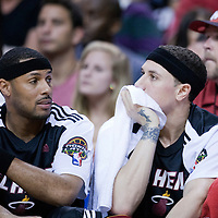 06 March 2011: Miami Heat point guard Eddie House (55) sits next to Miami Heat point guard Mike Bibby (0) during the Chicago Bulls 87-86 victory over the Miami Heat at the AmericanAirlines Arena, Miami, Florida, USA.