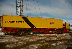 Stock photo of a sandmaster truck at a CO2 fracking site