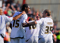 Photo: Leigh Quinnell.<br /> Bournemouth v Swansea City. Coca Cola League 1. 14/10/2007. Swanseas Warren Feeney tells  Dennis Lawrence he has scored goal number two.