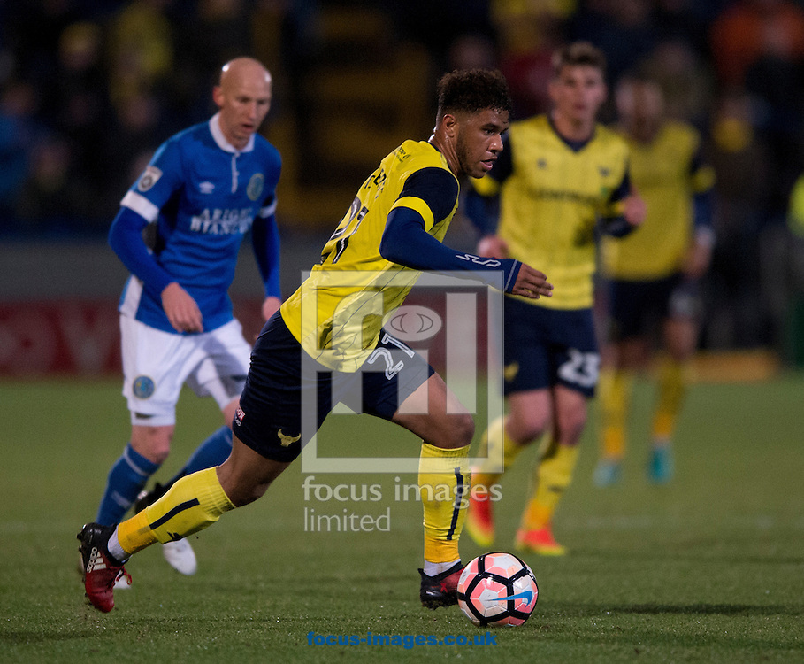 Tyler Roberts of Oxford United pushes forward during the FA Cup match at Moss Rose, Macclesfield<br /> Picture by Russell Hart/Focus Images Ltd 07791 688 420<br /> 02/12/2016