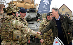 © Licensed to London News Pictures. 09/03/2012. Copedown Hill, UK. Secretary of Defence Philip Hammond visits troops who are being deployed to Afghanistan next month. The 12th Mechanized Brigade (12 Mech Bde) at Copehill Down, Salisbury Plain Training Area, Wiltshire, on FRIDAY 09 MARCH 2012, as it prepares to deploy to Helmand Province, Afghanistan, on Operation Herrick 16, in the Spring of this year. The Brigade were performing a dynamic demonstration of combined Afghan/ISAF operations supported by surveillance assets and casualty evacuation capability. Tornado GR4 fast jest ground support was also displayed.. Photo credit : Stephen SImpson/LNP